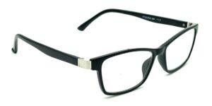 Rektangulære, blanke, sorte og billige læsebriller i plastik med metal indsats inderst på stængerne