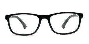 Kantede, sorte, blanke og billige læsebriller i plastik