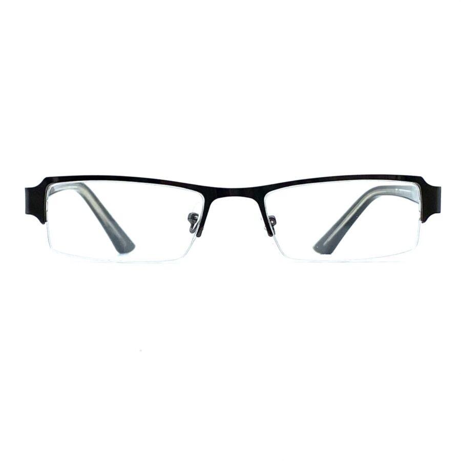 Sølvfarvede, smalle og billige læsebriller i metal med næsepuder. Brillerne har ingen stelkant under glasset