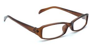 Brune, smalle og billige læsebriller, i plastik.