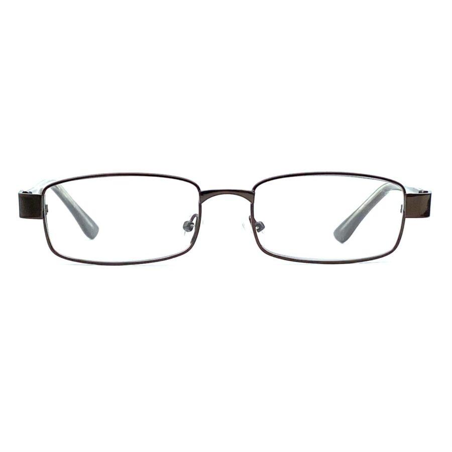 Brune, smalle og billige læsebriller i metal. Med næsepuder.