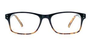 Kantede, sorte og billige læsebriller. Med en brun kant under brilleglasset og yderst på brillestængerne. Er lavet i plastik.