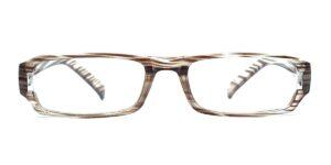 Brunstribede, smalle og billige læsebriller i plastik