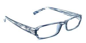 Gråstribede, smalle og billige læsebriller i plastik