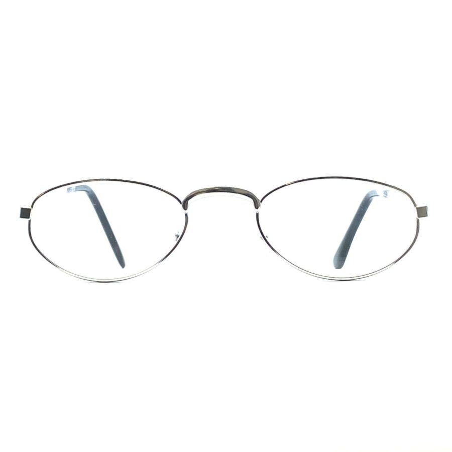Sølvfarvede, klassiske og billige læsebriller i metal med næsepuder