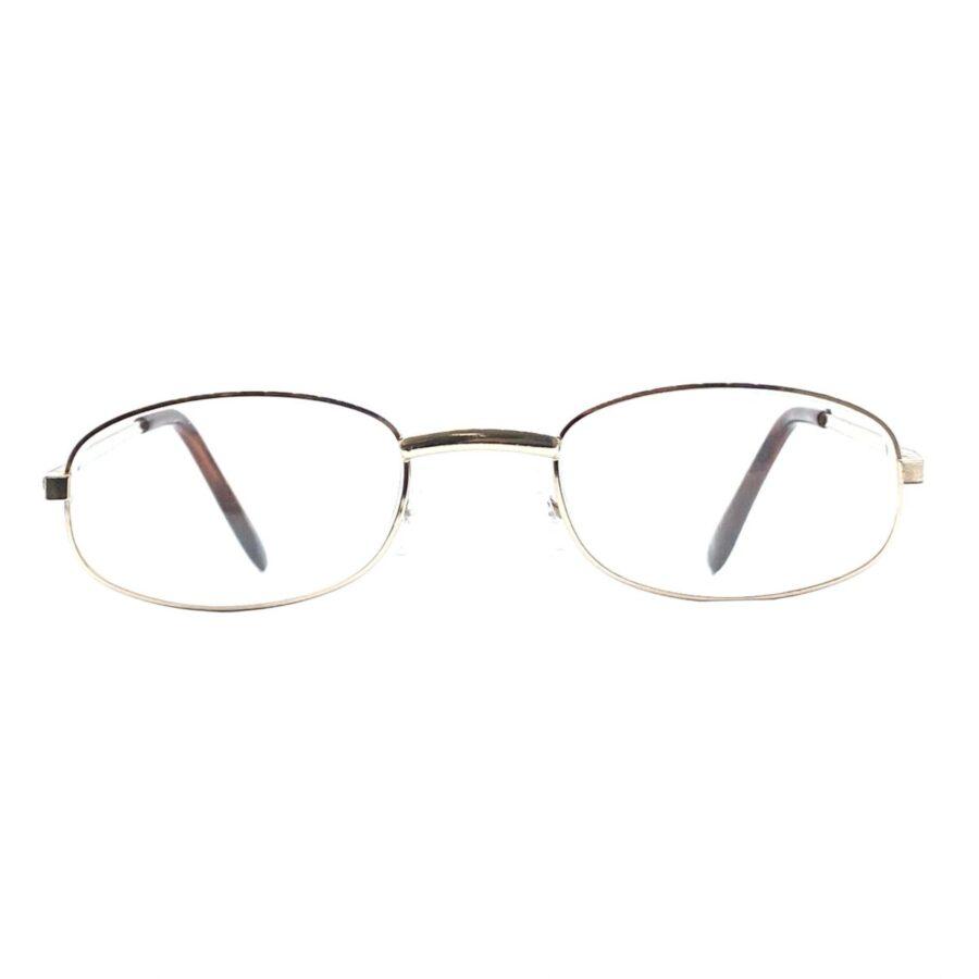 Guldfarvede, klassiske og billige læsebriller i metal med næsepuder